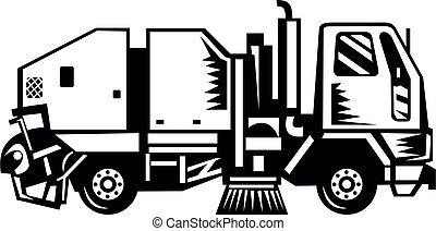 woodcut, vista, lado, retro, caminhão, limpador, rua