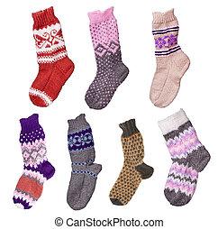 woolen, meias, hand-knitted