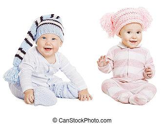 woolen, menino, pequeno, crianças, retrato, menina bebê, chapéu