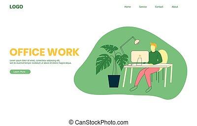 work's, homens, escrivaninha, site web, trabalhando escritório, ilustração, workspace
