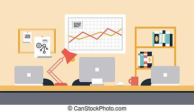 workspace, colaboração, escritório, ilustração