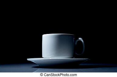 xícara café, cima, experiência preta, fim