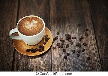 xícara café, disparar, grande