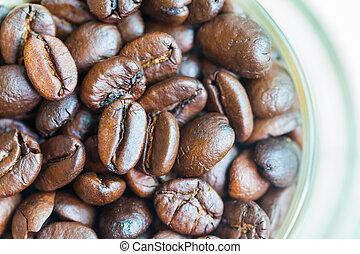 xícara café, feijões brancos