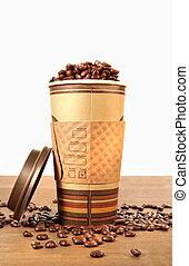 xícara café, feijões, descartável