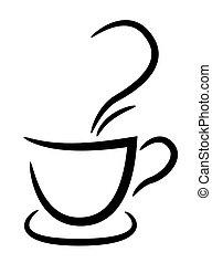 xícara café, ilustração, fundo, pretas, branca