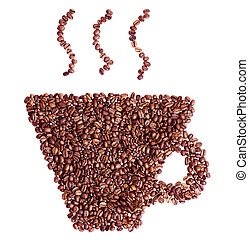 xícara café, isolado, forma, feijões, branca