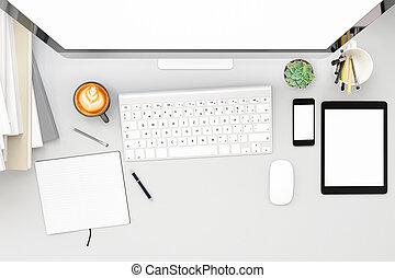 xícara café, render, work., cima, workpark, tela, computador, em branco, frente, lar, branca, vista, livro, escarneça, 3d