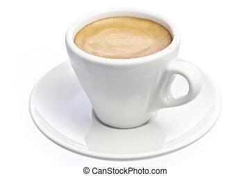 xícara café, sobre, espresso, isolado, branca