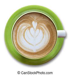 xícara café, topo, isolado, branca, vista