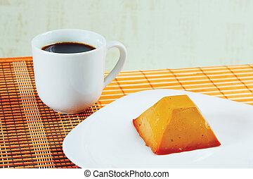 xícara café, vida, pano, caramelo, pudim, tabela, bambu, ainda