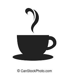 xícara chá, ícone, vetorial, gráfico, café assalta