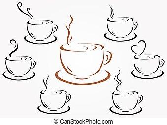 xícaras café, chá, ou