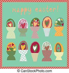 xícaras ovo, páscoa, cartão, coloridos