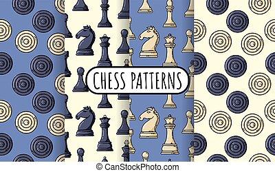 xadrez, wallpapers., cobrança, jogo, apartamento, ilustração, seamless, patterns., vetorial, pedaços, pretas