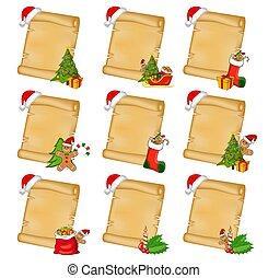xmas, pergaminho, jogo, hat., vertical, árvore, santa, presentes, papel, card., symbols., outro, fundo, scrolls, folha, antigas, papyrus, natal, ornaments., decorado, vazio