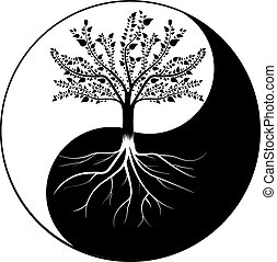 yang, árvore, yin