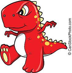 zangado, má, dinossauro, vermelho, t-rex