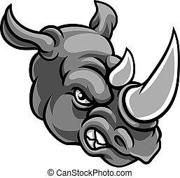 zangado, mascote, rinoceronte, esportes