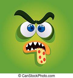 zangado, monstro verde