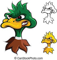 zangado, pato, cabeça, caricatura