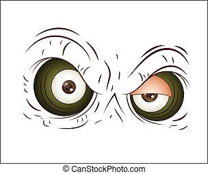zangado, vetorial, olho, caricatura