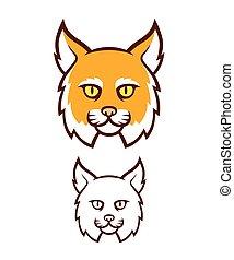 zangado, wildcat, cabeça, mascote