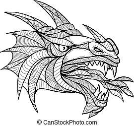 zentagle, cabeça, dragão