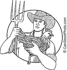zentagle, galinha, agricultor, segurando, pitchfork