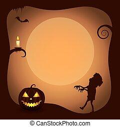 zombie, cartaz, dia das bruxas, silueta, fundo