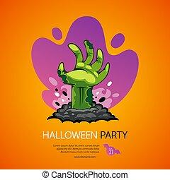 zombie, cartaz, partido halloween, mão