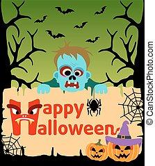 zombie, dia das bruxas, cartão