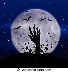 zombie, dia das bruxas, fundo, mão